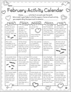 Monthly Ideas February  Activity Calendar  Stationery  School