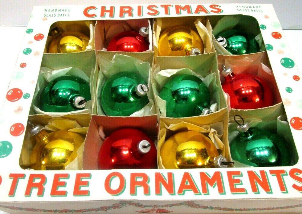 Christmas Ornaments Austria Glass Balls Box Of 12 Handmade Red