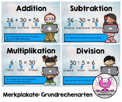 Merkplakate: Grundrechenarten (Teacher In Wonderland) | schule ...