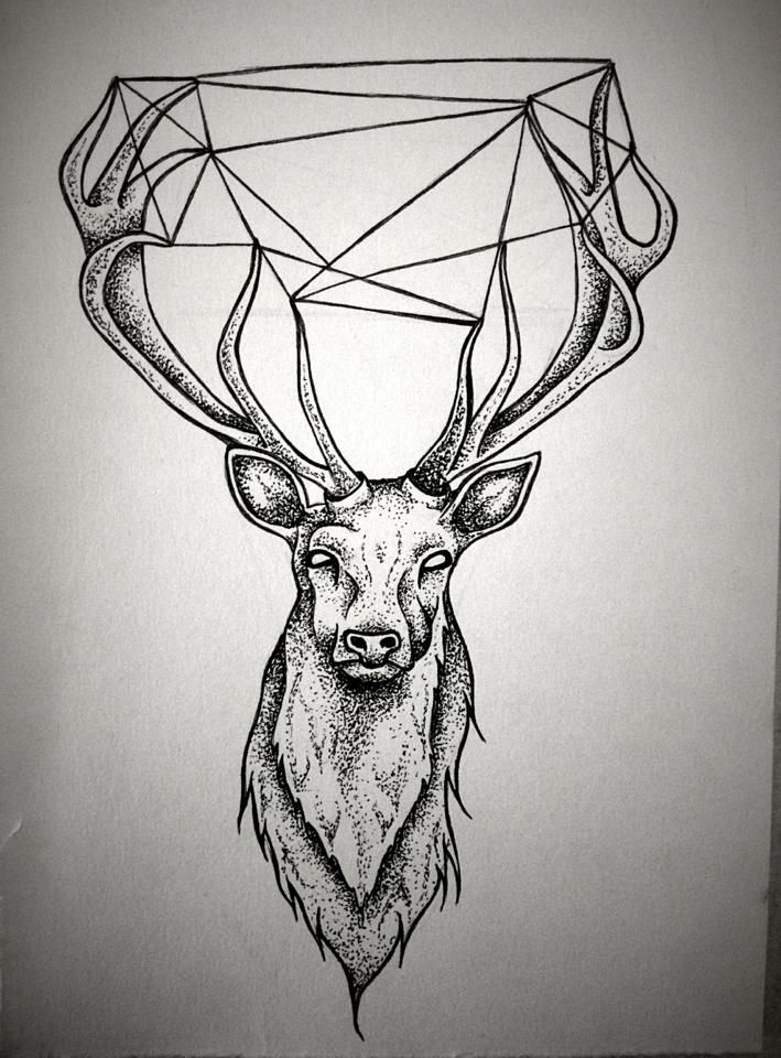 Geometric Stag (Black&White) with a diamond in the center of the antlers instead.