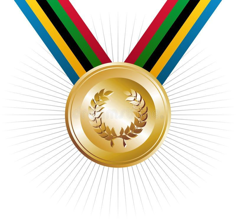 Olympics Games Gold Medal With Laurel Wreath Stock Vector  Illustration of canoe colorful 24494446  Olympics games gold medal with laurel wreath Olympics Games gold medal...