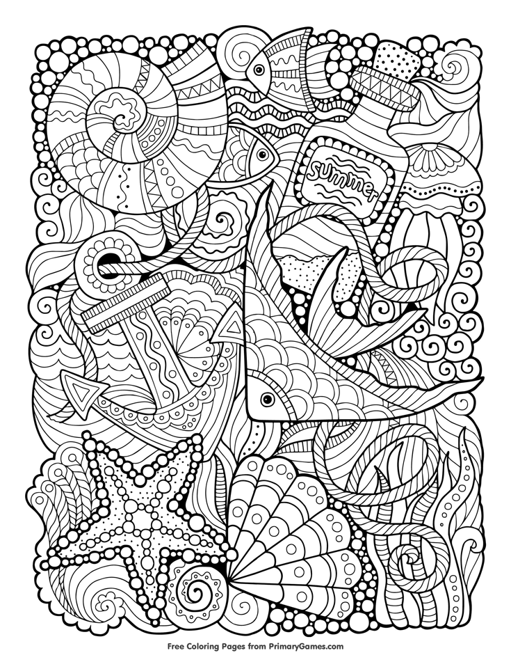 Summer Sea Coloring Page Free Printable Ebook Coloring Books Summer Coloring Pages Cool Coloring Pages