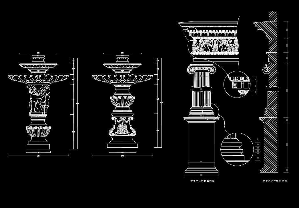 Architectural decorative elements 2 autocad cad drawing for Architectural design elements
