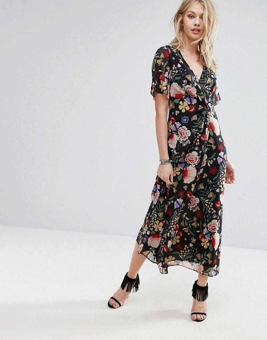 67ef9d2743 Mango Floral Wrap Midi Dress - Multi