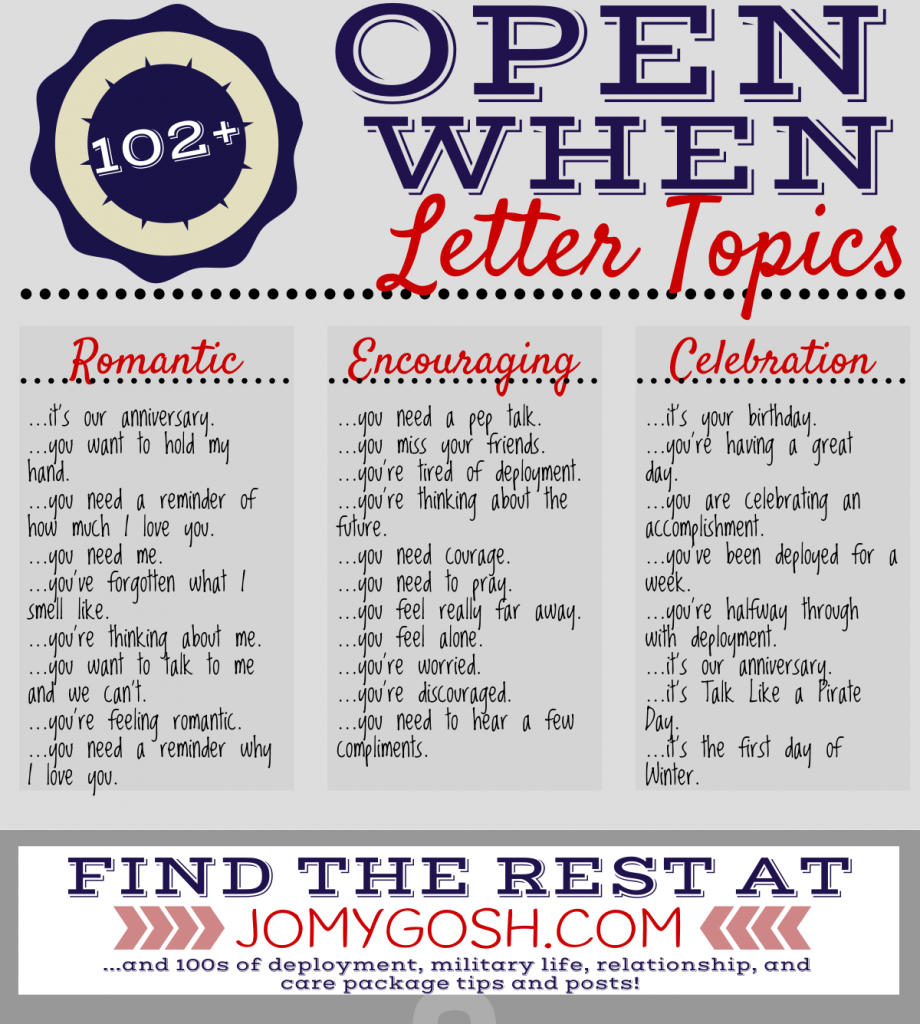 Open When Letter Topics