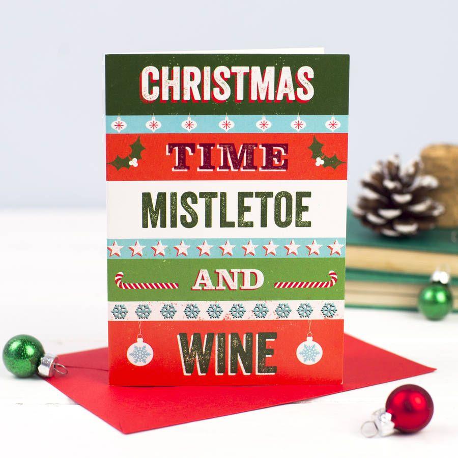 Mistletoe And Wine Retro Christmas Card Mistletoe Wine Christmas Cards Beautiful Christmas Cards