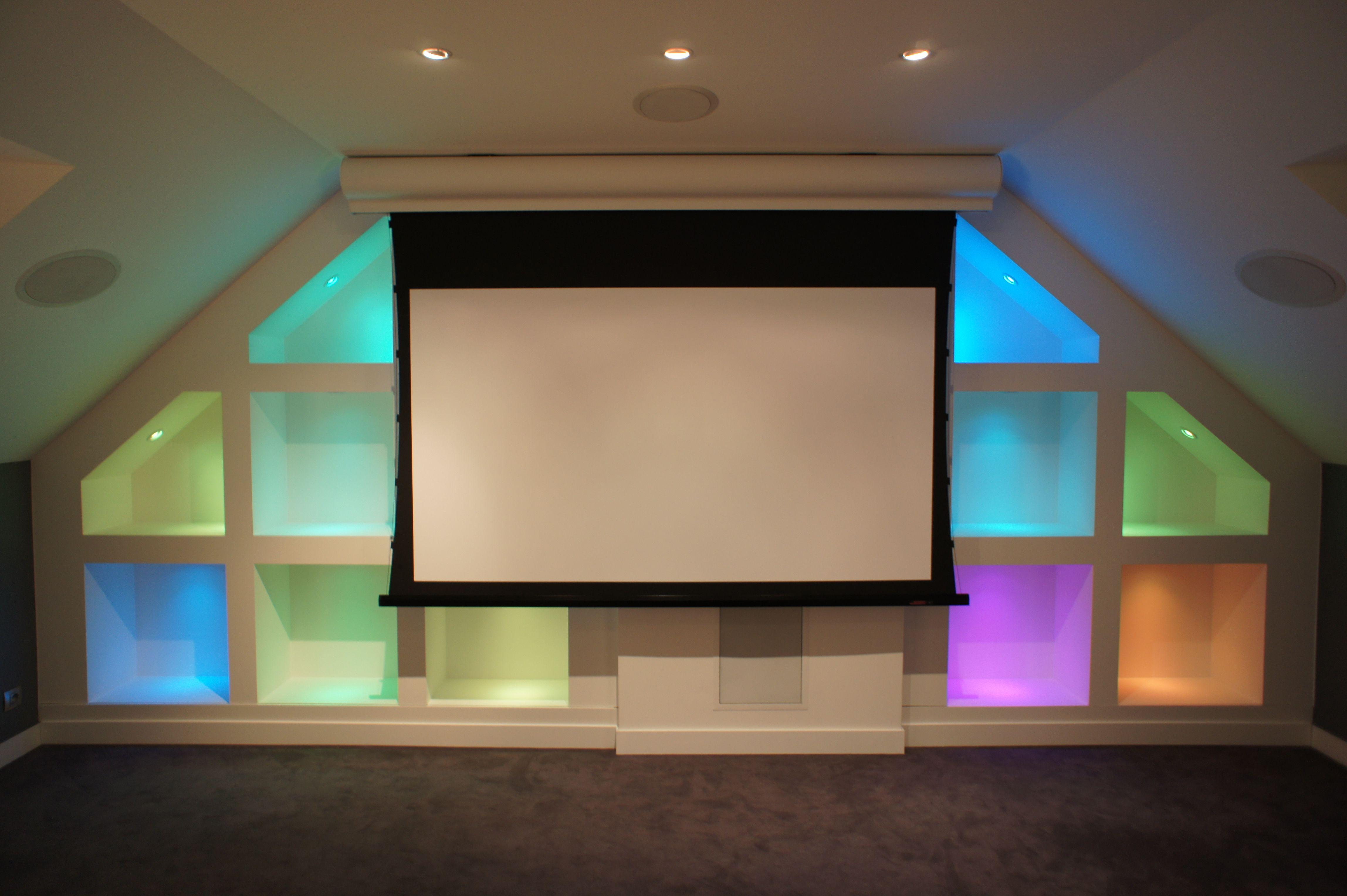 Salon de cinéma privée 7.1ch , enceintes encastrable ...