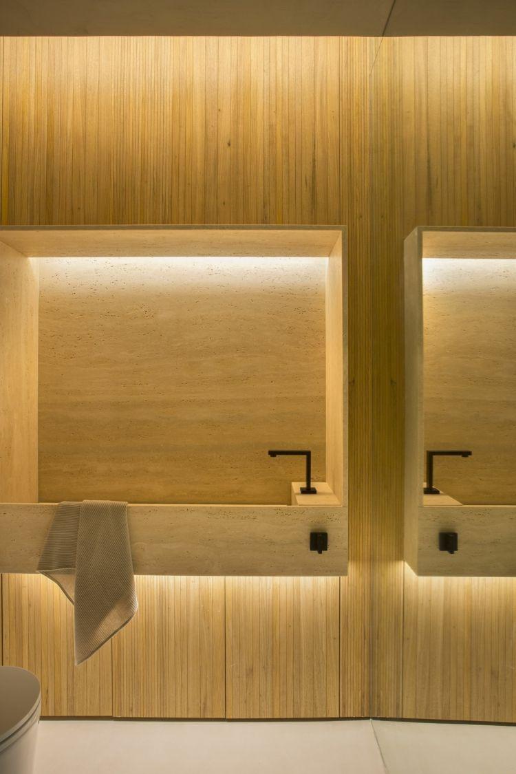Modernes Bad Design Holz Beleuchtung Exklusive Badezimmer Armaturen Modern Bathroom Design Wood Modern Bathroom Design Beautiful Bathrooms