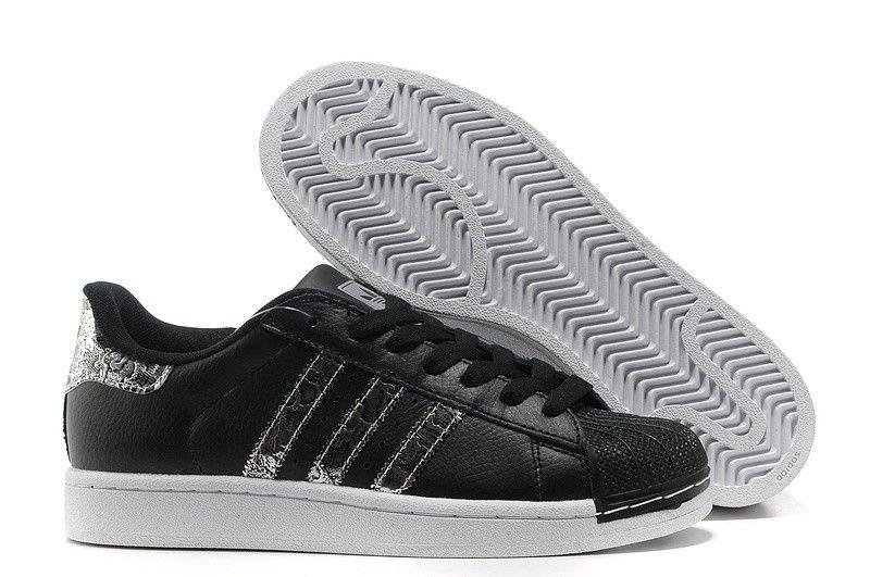 Zapatillas adidas superstar 2 cuero g62846 serpente negras silver
