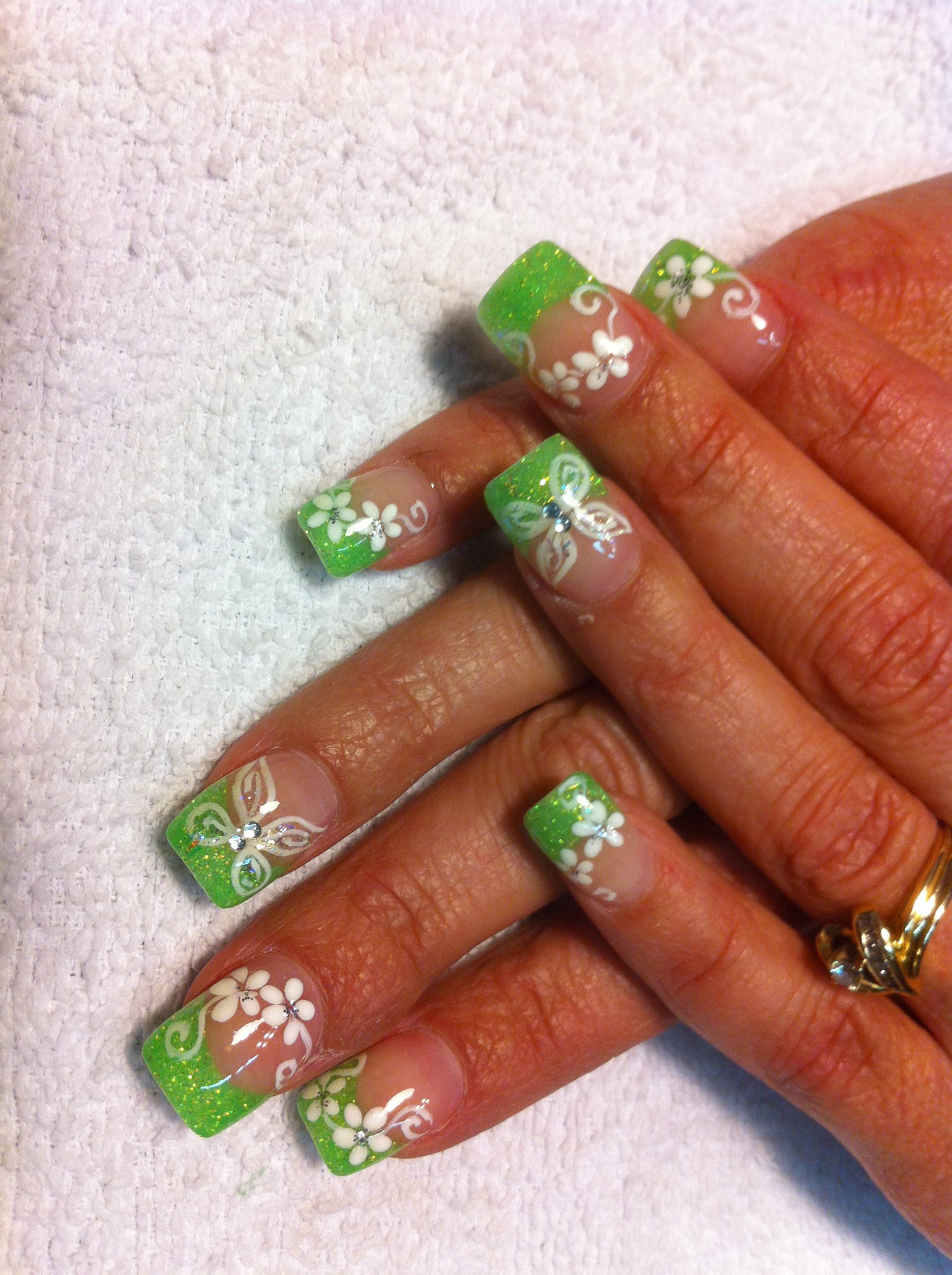 nails hollie- tinkerbell theme
