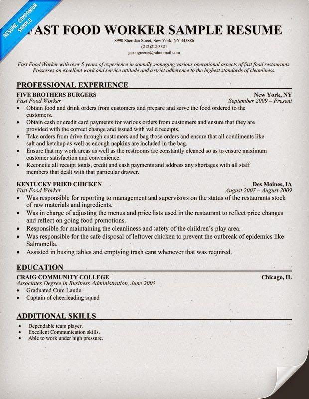 Fast Food Worker Resume Sample Free Resume Templates Resume Examples Resume Skills Resume Objective Examples