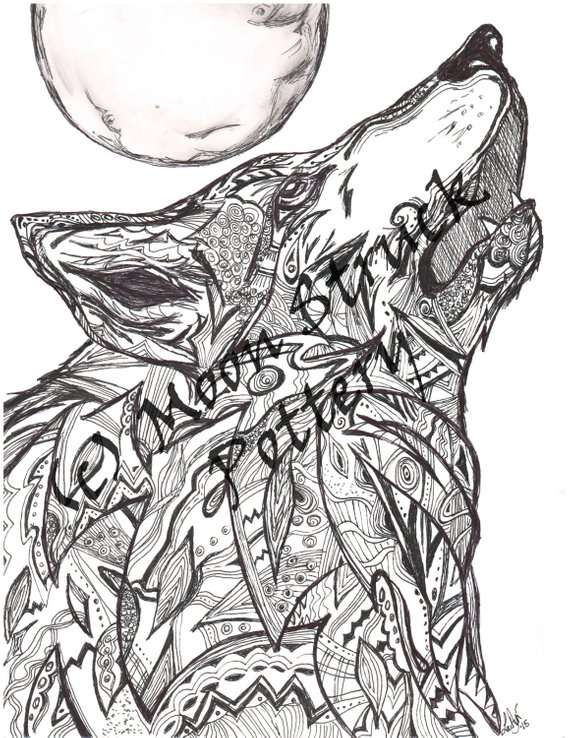 Animal Coloring Page, Wolf Coloring Page, Adult Coloring ...