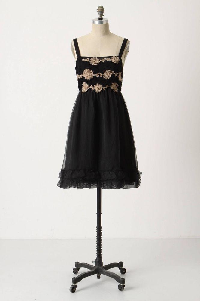 Anthropologie Zehavale Dress Cocktail Midnight Dahlia Black Silk #Anthropologie #EmpireWaist #CocktailFestivePartyWatermelontossing