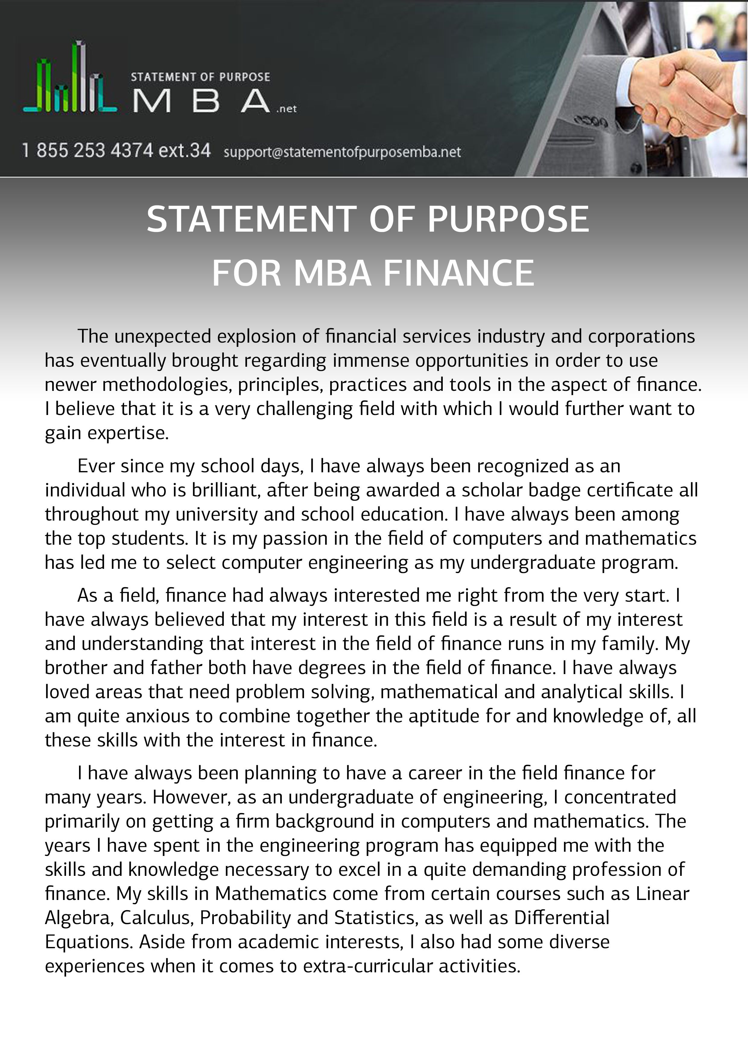 Writing Statement Of Purpose For Mba Finance Statement Of