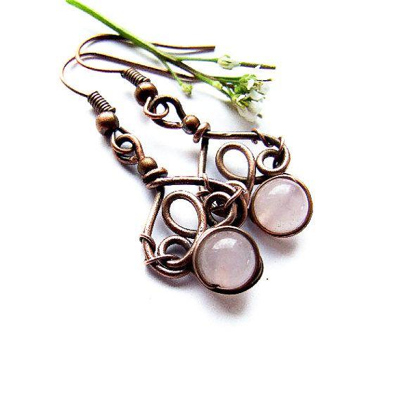 Simple Wire Pink Earrings Tutorial Dangle Earrings by KicaFika ...