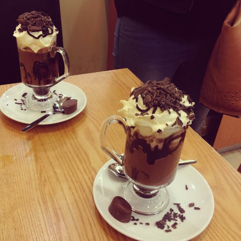 Hot chocolate at Thorntons cafe