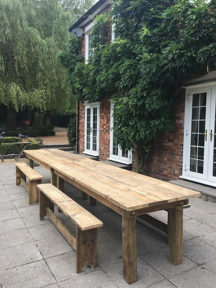 16ft Reclaimed Scaffolding Board Table And Benches Very