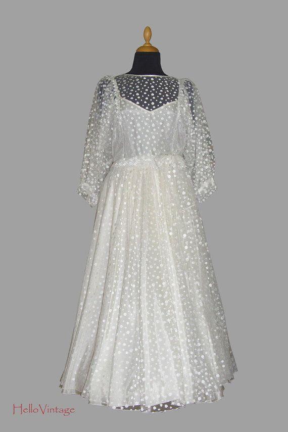 Designer 60er Pünktchen Vintage Brautkleid Gr. 36-38, 1960er ...