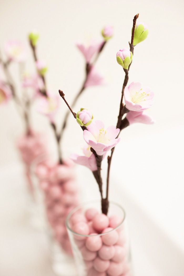 Great Centerpiece Idea Using Cherry Blossom Or Any Kind Of Blooming Tree Branch Tutorial Swee Paper Flowers Cherry Blossom Branch Cherry Blossom Wedding