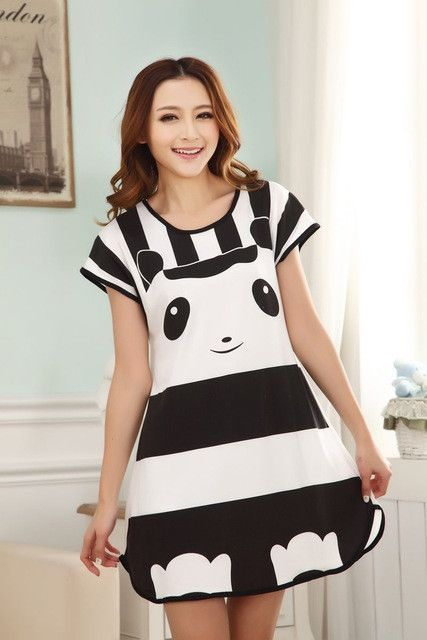 Cute Cartoon Women Casual Nightwear Sleepwear Short Sleeve Sleep Dress 85e482f1d