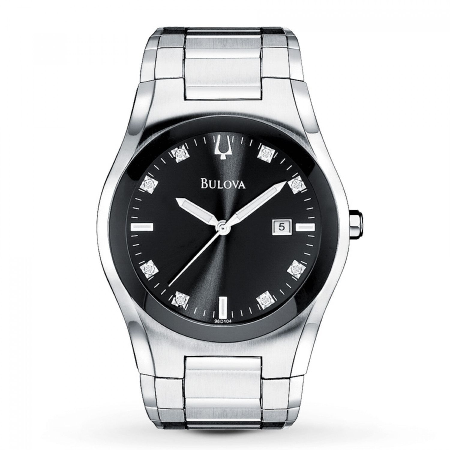 bulova 96d104 mens watch 8 diamonds on black dial silver stainless bulova 96d104 mens watch 8 diamonds on black dial silver stainless steel band