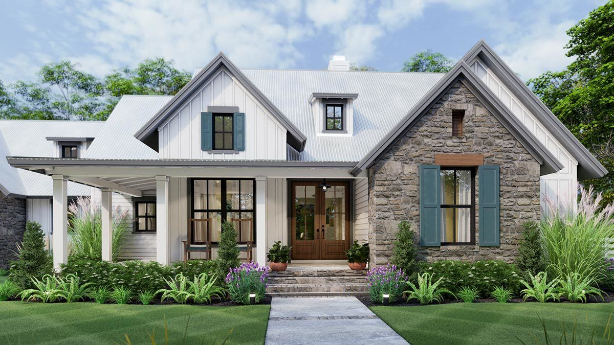 Plan 16916wg 3 Bedroom New American Farmhouse Plan With L Shaped Front Porch Modern Farmhouse Plans House Plans Farmhouse Craftsman House Plans