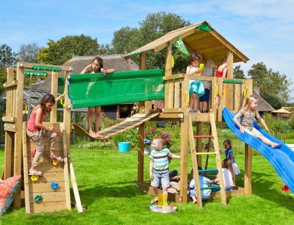 Popular Spielturm Jungle Gym Chalet inkl Br ckenelement und Rutsche gesehen bei http