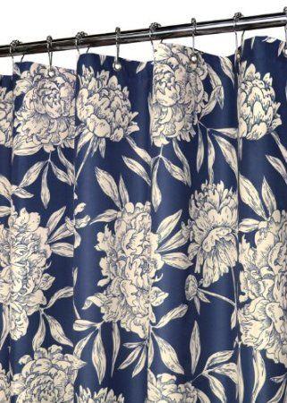 Amazon Com Park B Smith Peony Shower Curtain Navy Natural