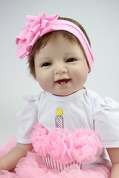 Silicone morbido Bambola Reborn baby 55 centimetri magnetica Bocca