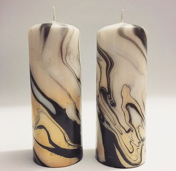Image of Black/Gold Marbled Pillar Candle