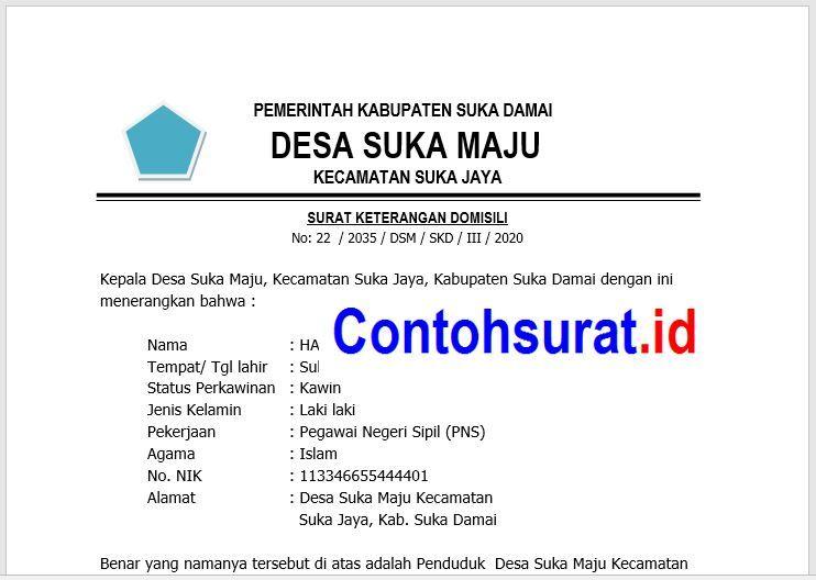 Surat Keterangan Domisili Atau Keterangan Penduduk Dari Kepala Desa Pedesaan Surat Pemerintah