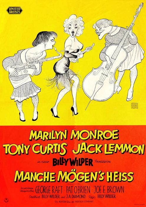 """""""Some Like It Hot"""" - Marilyn Monroe. Tony Curtis and Jack Lemmon. German Movie Poster, 1959."""