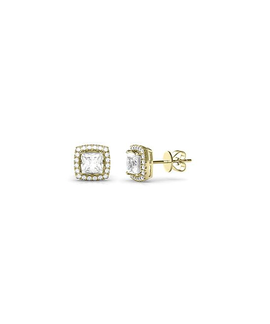 Gold Halo Stud Earrings With Swarovski® Crystals