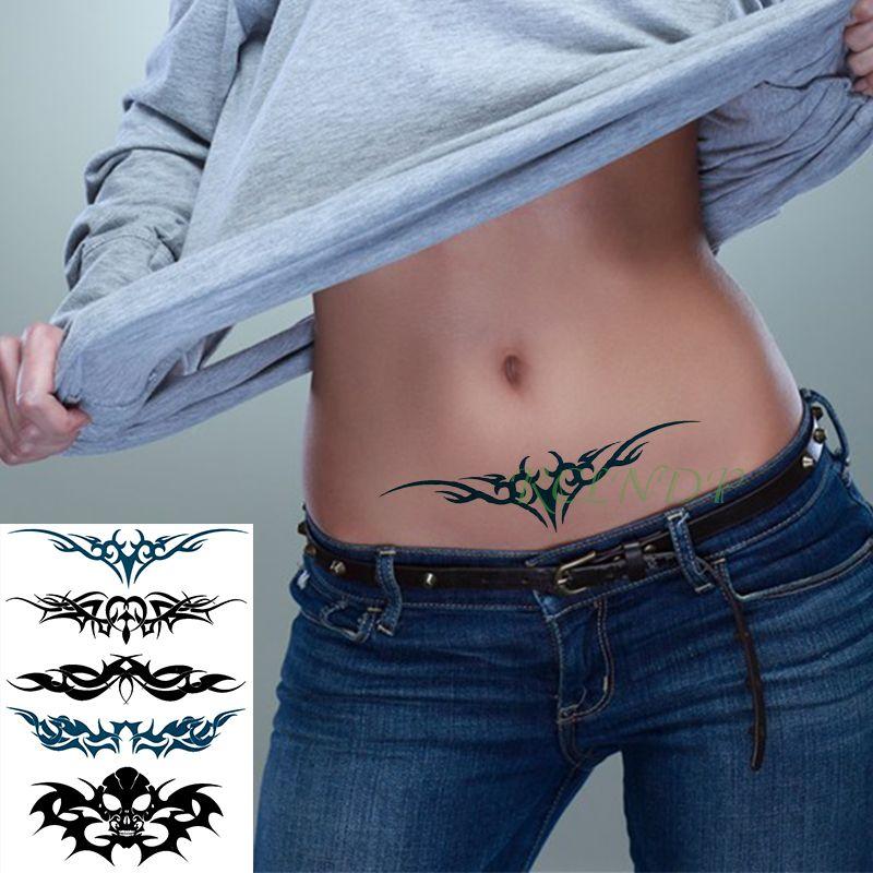 Temporary Tattoo Sticker Large Size Body Art Sketch Flower: Waterproof Temporary Tattoo Sticker Totem Line Large Size