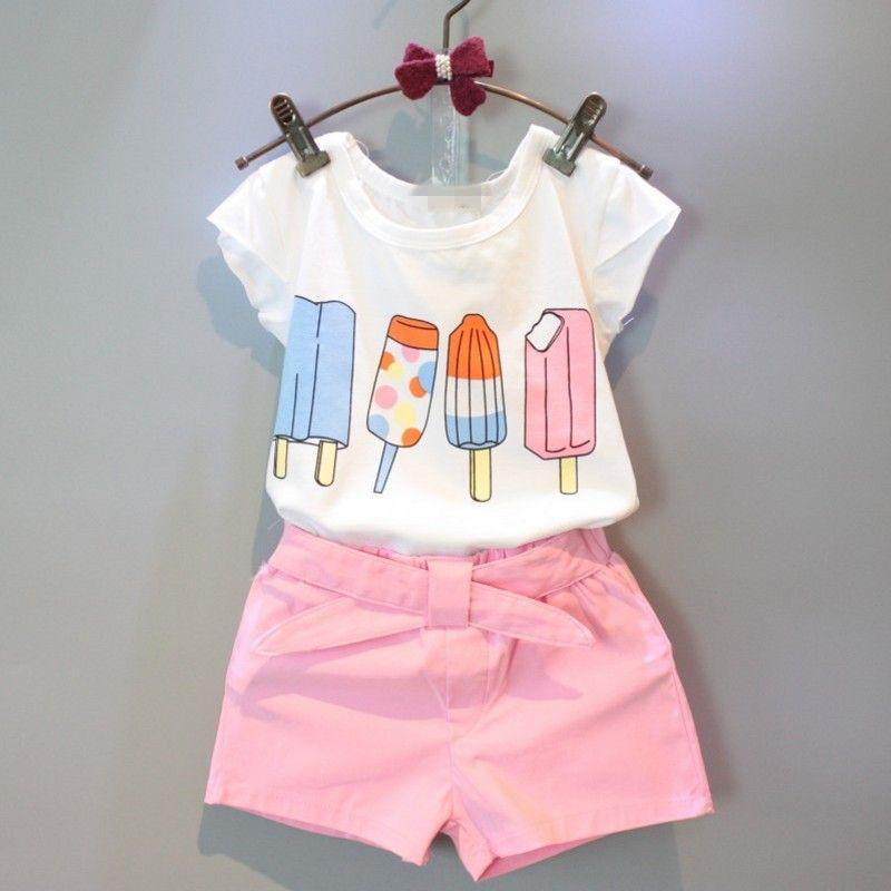 Girls Clothing Set Toddler Tops Shorts Children Summer Kid Cartoon Short Clothes