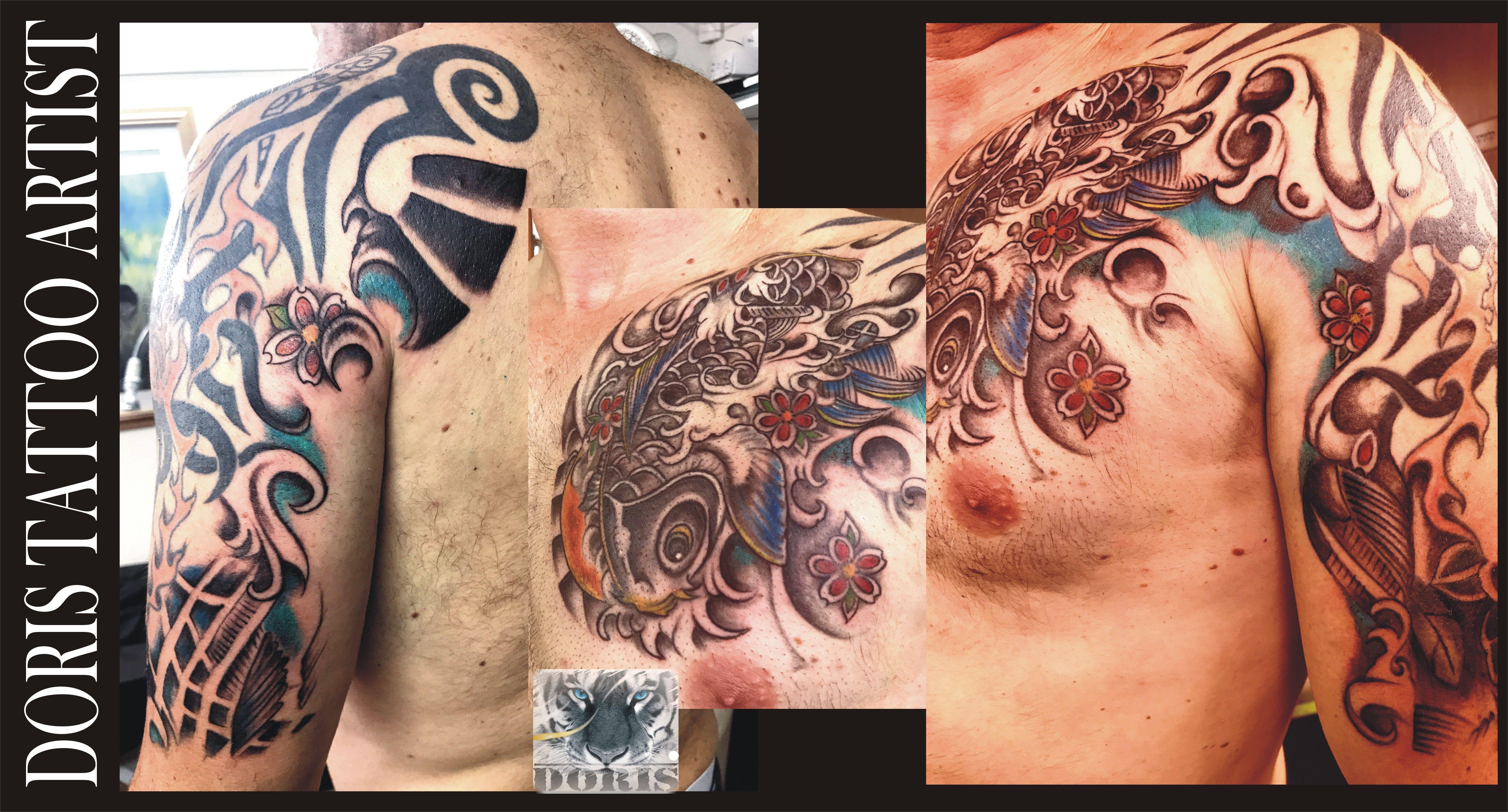 Mike S Koi Sleeve Chest Panel Unfinished Big Jpg 2400 3200: Sleeve Tattoos, Half Sleeve