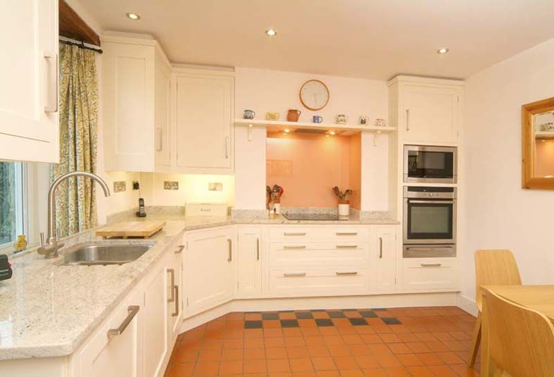 White Hand Painted Kitchens Sheffield With Light Marble Veneer Impressive Kitchen Design Sheffield Design Inspiration