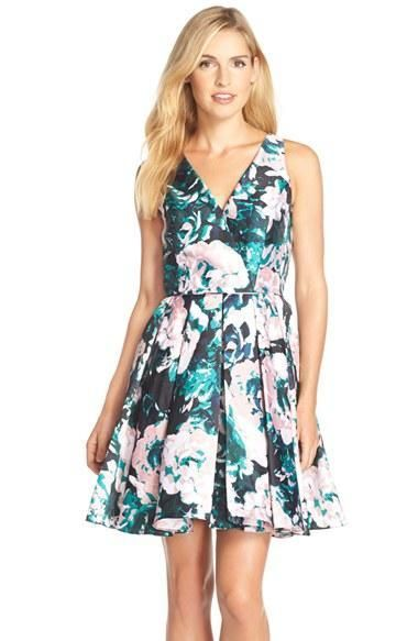 Adrianna Papell 41911890 Floral Mikado Fit And Flare