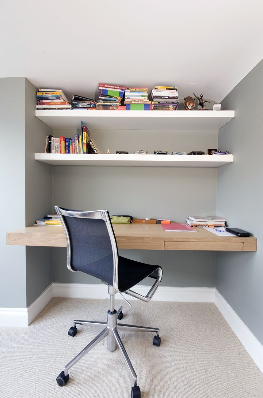 Bespoke Fitted Desk In What Was Once A Useless Space Including Floating Desks And Shelves Www Creativewoodwor Floating Desk Alcove Desk White Floating Desk