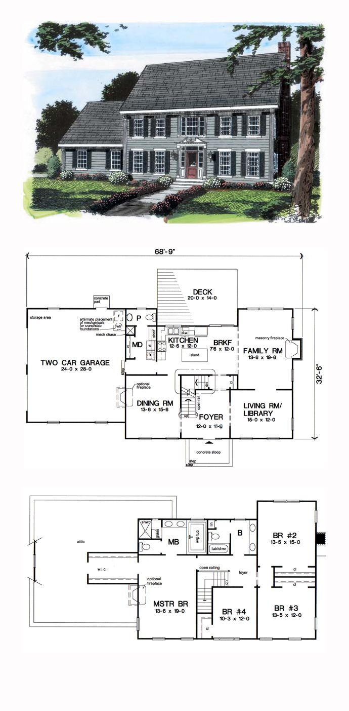 Colonial Style House Plan 24970 With 4 Bed 3 Bath 2 Car Garage