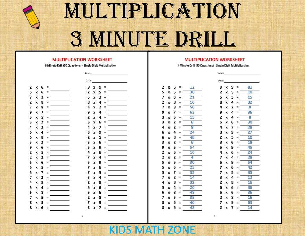 Multiplication 3 minute drill H with answers 10 sheets/pdf/   Etsy    Multiplication [ 816 x 1056 Pixel ]