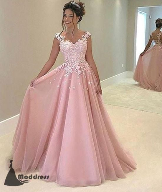 Elegant Pink Long Prom Dress Applique A-Line Evening Dress Formal ...