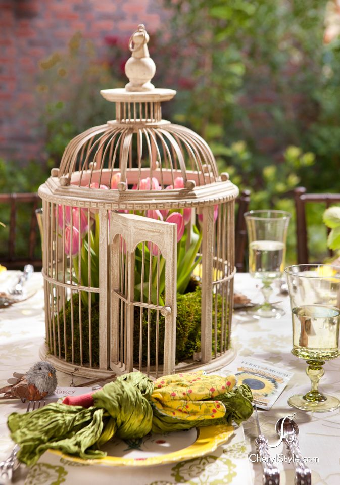 look for great centerpiece ideas at antique store, yard sales and your grandma's attic.