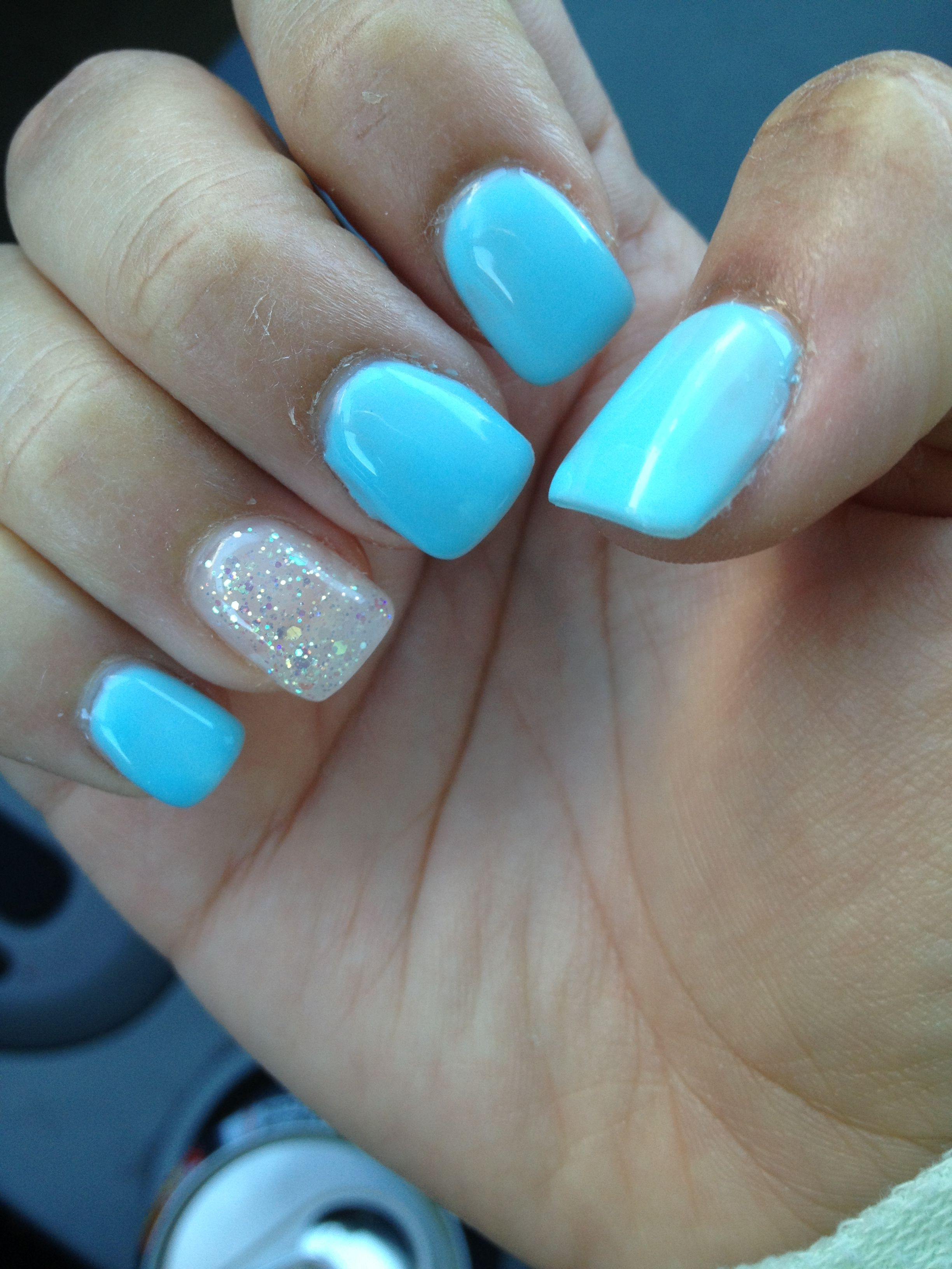 Sky Blue Gel Manicure With A Glittery Accent Blue Gel Nails Acrylic Nails Light Blue Gel