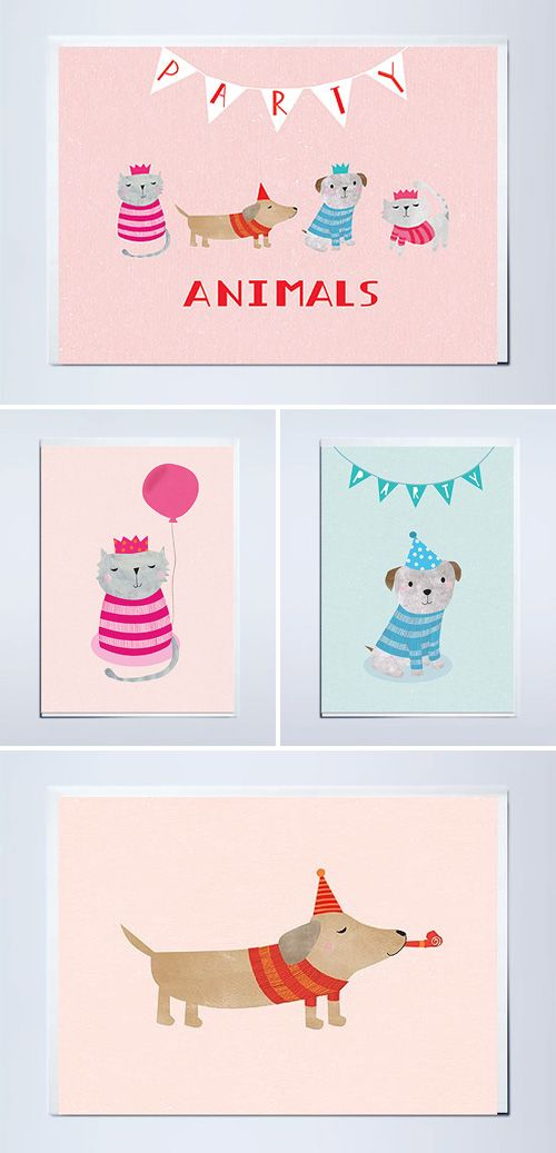 Party Pets Birthday Cards | Plainly Patterned