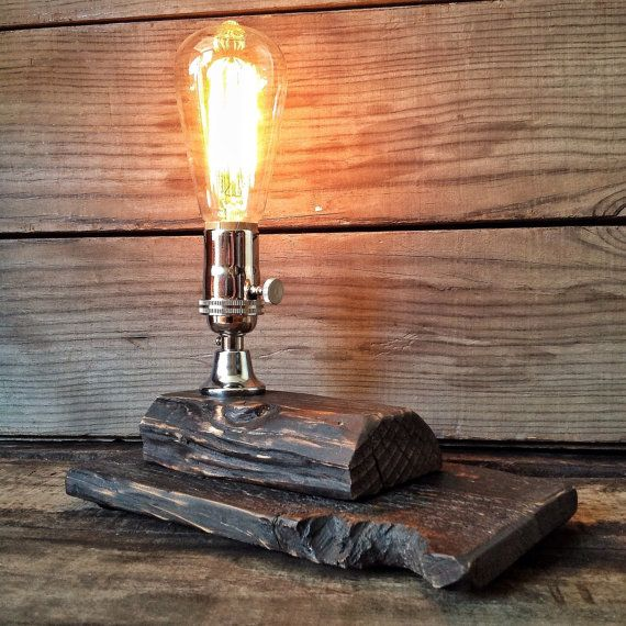 Rustic Table Lamp Reclaimed Wood Lamp Rustic By RehabStyle