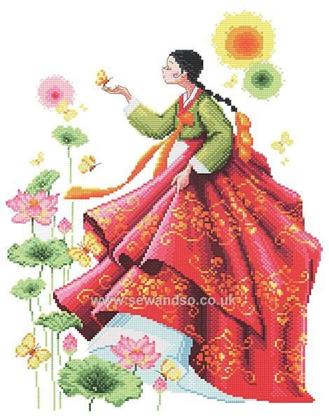 Buy A Lady in Korean Traditional Dress, Hanbok Chart Booklet Online ...