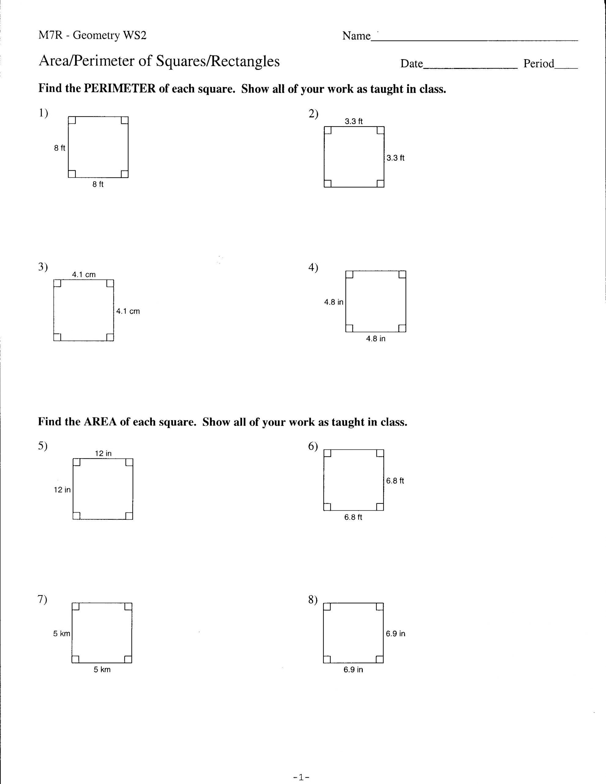 9th Grade Geometry Worksheet Area And Perimmeter Of