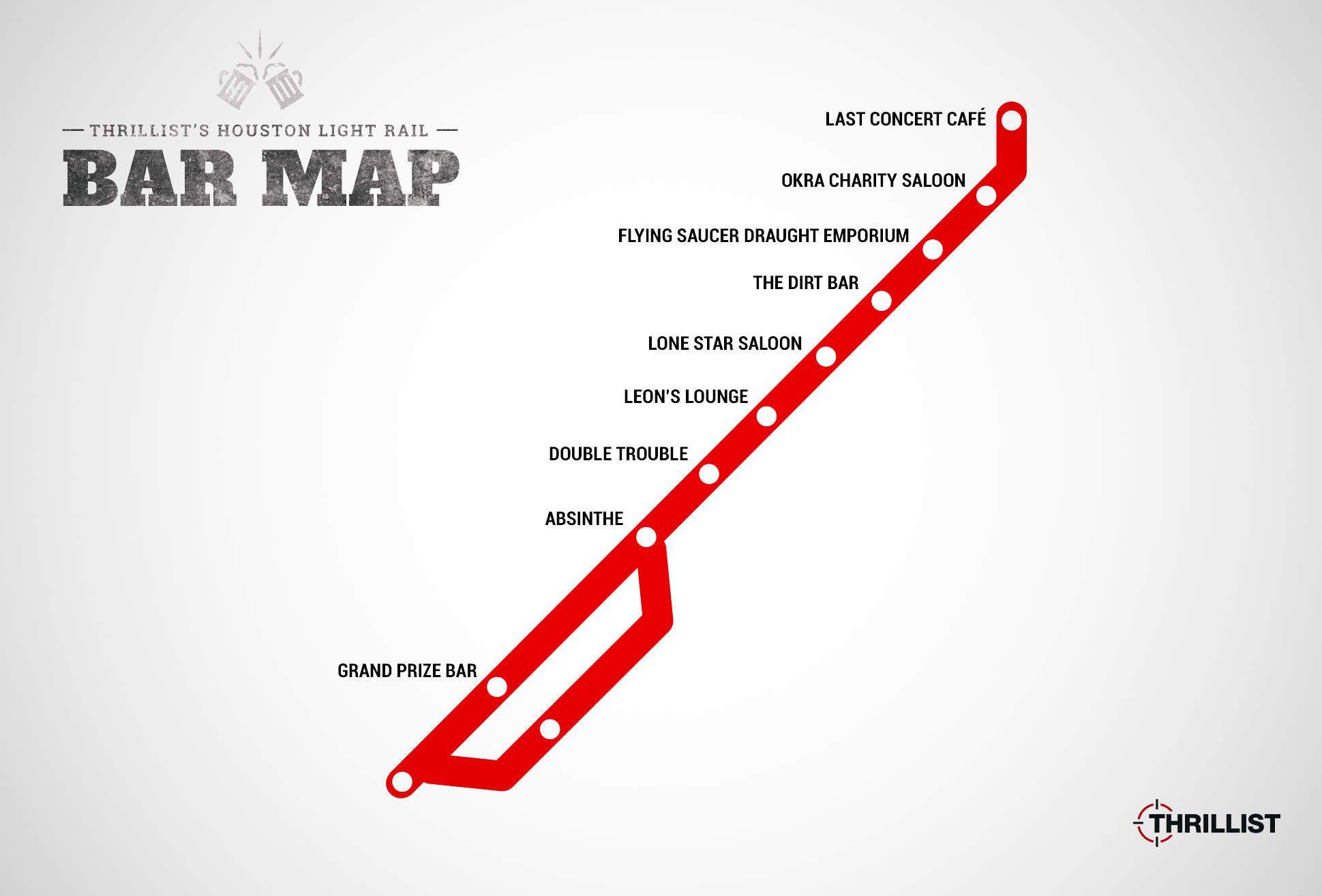 Houston's firstever light rail bar map Houston lights