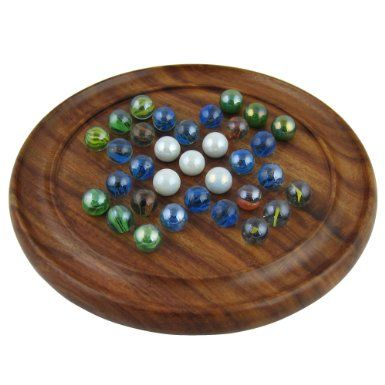 Games Solitaire Board in Wood with Glass Marbles: Amazon.co.uk: Toys & Games